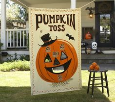 """Pumpkin Toss Game - 36"""" x 54"""" and comes with 3 pumpkin shaped beanbag - Could I make something like this for less then $39.00 +shipping?"""