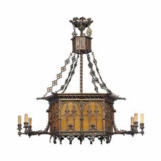 A FRENCH BRONZE AND GLASS SIX-LIGHT CHANDELIER - IN THE GOTHIC TASTE, LATE 19TH/ EARLY 20TH CENTURY