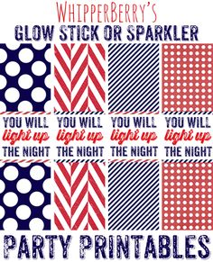 WhipperBerry's Glow Stick or Sparkler Party Printable for 4th of July