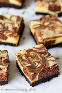 Creamy and rich, these triple chocolate cheesecake bars are such an eye-candy and are bound to satisfy your sweet tooth! #FWCon