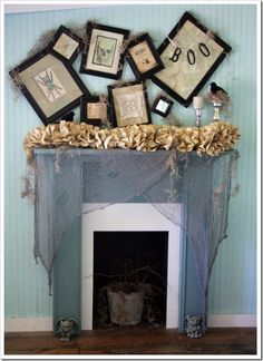 I am not a huge decorator for Halloween, but I love this mantle and think I could incorporate some of the elements in.