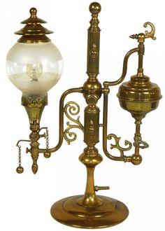 Lighting, student lamp, heavy brass, marked Lindsey, 1910
