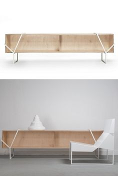 Chipboard sideboard LAÇO K By Branca Lisboa design Marco Sousa Santos Sideboard Furniture, Wooden Furniture, Kitchen Furniture, Cool Furniture, Living Room Furniture, Credenza, Interior Architecture, Interior Design, Regal Design