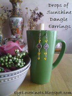 EyeLoveKnots: Drops of Sunshine Dangle Earrings - Easy DIY