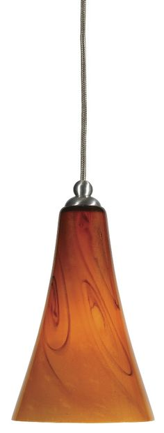 """Modern Pendant Light With Golden Amber Glass With Brown Bronze Swirls 5.4""""Wx8""""H"""