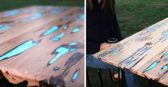 You can learn how to make your own DIY glow-in-the-dark table using Photoluminescent Resin and Pecky Cyprus wood.