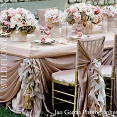 pink & champagne table setting. LOVE my wedding colors.