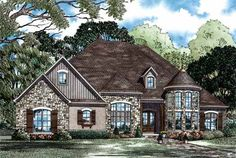 European Style House Plans - 3052 Square Foot Home , 1 Story, 4 Bedroom and 3 Bath, 3 Garage Stalls by Monster House Plans - Plan 12-1170