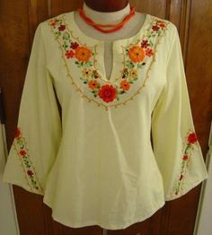 Vintage 1960s Boho Hippie Grateful Dead Flower Child Style Yellow Floral Embroidered Bell Sleeve Mexican Peasant Gypsy Festival Blouse!