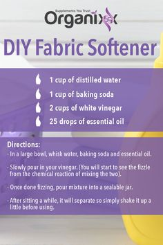 DIY HOUSEHOLD PRODUCTS: Another great use for your Organixx essential oils. Store bought fabric softeners have so many toxins in them. Make your own instead. Click on the image for a list of highly effective and ultra pure essential oils! || essential oil recipe | recipes with essential oils | DIY Fabric Softener | essential oil tip | #organixx #organixxessentialoil #essentialoiltips #essentialoilrecipe