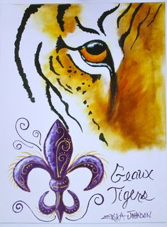 Draw Tigers Tigers Eye Art Print - Louisiana - Geaux Tigers - LSU Fans- College Art - Team Spirit 9 x 12 inches Old School Desks, Lsu Tigers Football, Tiger Love, We Will Rock You, Believe, Eye Art, Print Artist, Purple Gold, Animal Drawings