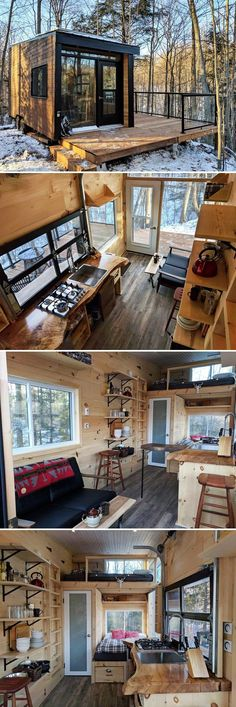 Dashi by Cabinscape – Tiny Living Surrounded by 75 private acres of secluded hardwood forest, the Dashi by Cabinscape offers an off-grid experience in Southwestern Ontario. The tiny cabin is available for nightly rental through Cabinscape. Tyni House, Tiny House Cabin, Tiny House Living, Tiny House Plans, Tiny House Design, Tiny House On Wheels, Cabin Homes, Tiny Homes, Cabin Design