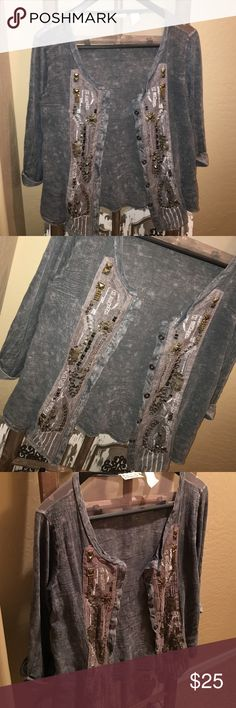 BKE GIMMICKS BOUTIQUE Cardigan BKE GIMMICKS BOUTIQUE Cardigan. Great condition, gently worn. Perfect boho chic style. Teal distressed color with intricate beading design. Buttons that button to the top. Lose S can fit M BKE Jackets & Coats