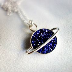 The Cosmos Collection- Saturn Pendant with 10 mm Blue Drusy