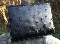 Black Ostrich Skin Wallet Perfect Gift Idea