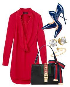 """""""Navy & Gucci"""" by perichaze on Polyvore featuring Gucci, Thakoon, Christian Louboutin, Belk & Co., women's clothing, women, female, woman, misses and juniors"""