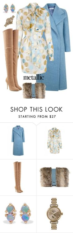 """Untitled #556"" by jeauhall ❤ liked on Polyvore featuring The 2nd Skin Co., Balmain, WWAKE, Shinola, metallic and metallicdress"