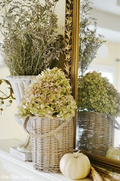 A Natural Fall Mantel Decor by At The Picket Fence