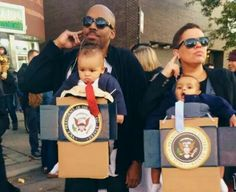ADORABLE parent baby carrier costumes! Baby presidents and their secret service agents! Brilliant!