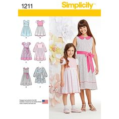 Sewing Patterns Girls, Simplicity Sewing Patterns, Clothing Patterns, Little Girl Dresses, Girls Dresses, Pastel Dresses, Sundress Pattern, Summer Dress Patterns, Girls Party Dress