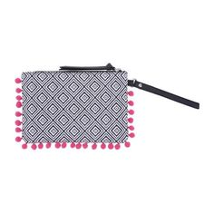 Women's Buttercup Pom Wristlet ($15) ❤ liked on Polyvore featuring bags, handbags, clutches, cotton purse, wristlet clutches, wristlet handbags, zipper handbag and pom pom handbag