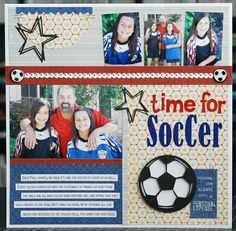 Soccer sports title printed die cut with layer of glitter accents