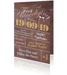 Uitnodiging feest typografie in lichtbruin
