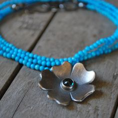 Hibiscus Necklace in Sterling Silver, Turquoise, and Blue Topaz