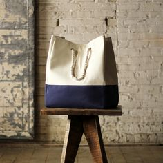 Canvas Tote Laundry Bag in Blue | dot and bo