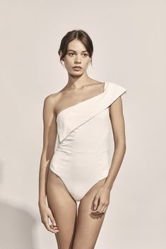 fb807cd3c712e Jeanne Maillot in Ivory Geometric Jacquard Beach Look, Swimsuits, Swimwear,  Design Trends,