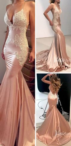 Sexy Rose Gold Mermaid Prom Dresses with Straps Gold Mermaid Prom Dresses, Sexy Formal Dresses, Sweet 15 Dresses, Sparkly Prom Dresses, Straps Prom Dresses, Formal Dresses For Weddings, Formal Evening Dresses, Pretty Dresses, Beaded Dresses
