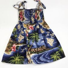 abe6dcc0a2 RJC Hawaiian Smocked Sun Dress Girls Size 5 Blue Island Map Aloha Tube Top  Palm