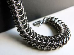 Mens Stainless Steel Chainmaille Bracelet by @AlycenMaille, $65.00  #chainmaille #giftsfordad #fathersday #uniquejewelry
