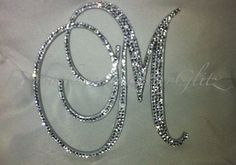 Personalized lettering in Swarovski crystal M Monogram, Wooden Monogram, Fancy Letters, Glitter Letters, Cd Crafts, Letter A Crafts, Gold Wallpaper Phone, Wedding Cake With Initials, Baby Girl Letters