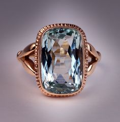 Antique Russian Aquamarine Rose Gold Ring, Made in St Petersburg between 1908 and 1917.