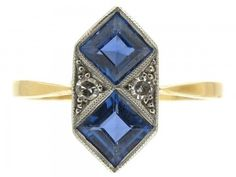 An original and very stylish Art Deco ring which was made circa 1920. It has an 18ct gold shank with a platinum top. The sapphires are Montana variety and very well matched.
