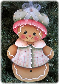 HP GINGERBREAD Girl ORNAMENT #Handpainted