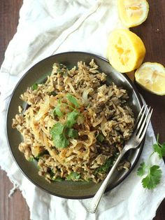 #GlobalRecipeMonthSeries Lebanese spiced lentils and basmati rice are tossed with caramelized onions and fresh cilantro in this savory vegan mujadara