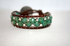 Leather wrap bracelet chan luu  green faceted czech by mvtreasures, $25.00