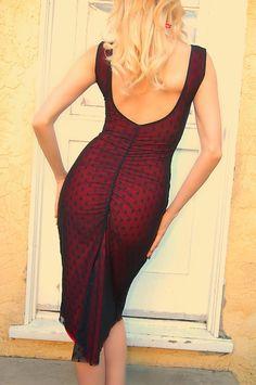 Black Lace Tango Dress MIMOSA polk a dot lace mesh Dress pin