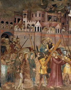 ANDREA DA FIRENZE Bearing of the Cross (detail) 1366-67 Fresco Cappellone degli Spagnoli, Santa Maria Novella, Florence
