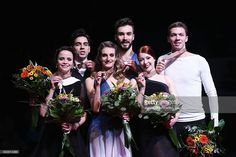 Anna Cappellini and Luca Lanotte of Italy, Gabriella Papadakis and Guillaume Cizeron of France and Ekaterina Bobrova and Dmitri Soloviev of Russia pose in the Ice Dance medal ceremony during day 4 of the European Figure Skating Championships at Ostravar Arena on January 28, 2017 in Ostrava, Czech Republic.