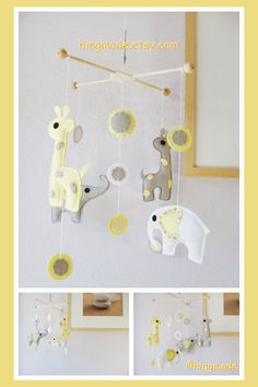 Baby Crib Mobile - Elephant Mobile - Nursery Mobile - Giraffe and Elephant Mobile - Yellow and Gray (Custom colors available) on Etsy, $119.28