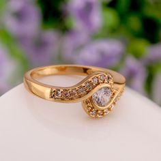 Show details for Fashion Rings Women Trendy Round Gold Plated Rose Gold Plated Alloy Zircon Daily