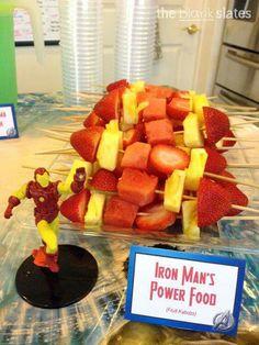 Iron Man's Power Food (fruit kabobs) - Visit to grab an amazing super hero shirt now on sale! Avengers Birthday, Superhero Birthday Party, 6th Birthday Parties, 4th Birthday, Birthday Ideas, Avenger Party, Iron Man Party, Iron Man Birthday, Hulk Party