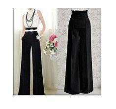Femme Casual Pantalons Noir Slim Taille Haute Evasé Vintage Carrière OL en  Large Leg Longue Pantalon 1373b670aa2