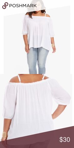 Jules Off Shoulder Top Show off a touch of skin with the Jules plus size top, crafted season's hottest off-the-shoulder silhouette. The breezy design adds a boho touch to your weekend rotation. Elasticized neckline, spaghetti straps, three-quarter sleeves. Fashion to Figure Tops Blouses