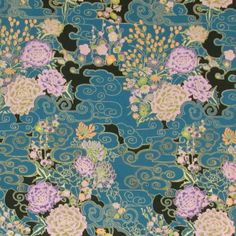 ASIAN BLOSSOMS TEAL LAVENDER LG FLORAL Cotton Fabric BTY for Quilting, Craft Etc  | eBay