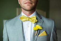 Grey Linen Suit with Yellow Bowtie and Boutonniere with Rope Detail | Nautical Inspired Groom