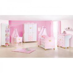 Chambre d´enfant Pinolino Princesse Caroline I lit + commode à langer + armoire 3 portes pin blanc rose